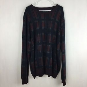 Perry Ellis Mens Sweater Wool Blend Exploded Plaid